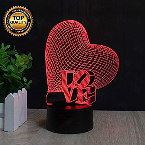 Amour de coeur 3D Lampes Illusions Optiques, FZAI Amazing 7 Changing Colors Acrylique Touch Button Table Bureau Night Light avec 150cm Câble USB Décoration de maison
