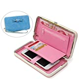 Aeeque Women Wallet, Luxury Large Capacity Ladies Girls Phone Case Stylish Handbag Purse for iPhone 5 5S SE/6 6S plus/7 7 plus/Samsung Galaxy J3/A3/A5/Huawei P8 Lite/P9 Lite - Light Blue
