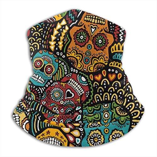 Ne maschera antivento messicana scaldacollo in pile teschio di zucchero messicano maschera antivento invernale donna, passamontagna passamontagna da sci e mezza maschera da motociclista.