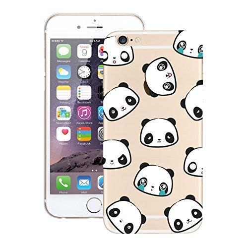 Custodia iPhone 6, Dexnor Cover iPhone 6 Custodia Silicone Trasparente Modello Morbido Gel Gomma TPU Bumper Slim Case Sottile Antiurto Copertura Protezione Protettiva Back Cover - Reticolo Variopinto Panda
