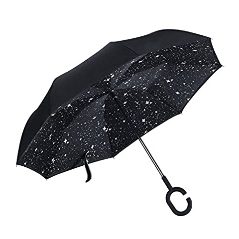 FiveMax Reverse Car Umbrella Double Layer Superior UV Protection Hands Free Inverted Umbrella (Star)