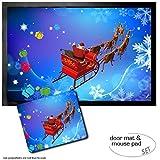 Set: 1 Fußmatte Türmatte (60x40 cm) + 1 Mauspad (23x19 cm) - Weihnachten, der Weihnachtsmann Kommt mit Seinem Rentier-Schlitten