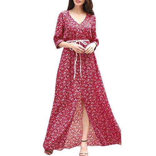 Mitlfuny Sommerkleid Frauen Floral Boho Abendgesellschaft Lange Maxi Kleid Mode Reizvolle Cocktailkleid Partykleid mit GüRtel (S, Red)