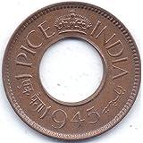 Samritika Ventures 1945 ONE PICE COPPER HOLE COIN RARE CALCUTTA MINT UNC COIN** OLD INDIA COIN6