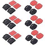 12 Stück Flach Mounts & Curved Mounts + 3M Klebepads Set für GoPro Hero 4/3 + / 3 / 01.02 SJ4000
