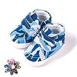 Morbuy Baby Leinwand Schuhe Tarnung Babyschuhe Neugeborene Mädchen und Jungen Kleinkind Weiche Alleinige Anti-Rutsch Krabbelschuhe Wanderer Schuhe (11cm / 0-6 Monate, Blaue Tarnung)