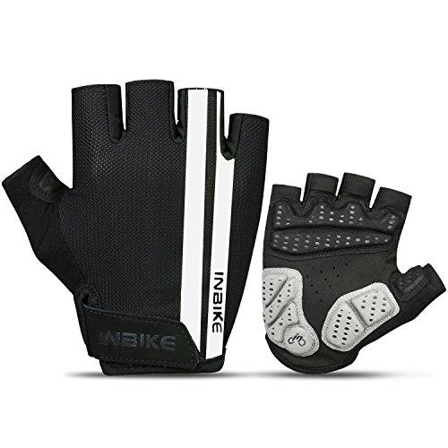 INBIKE Handschuhe Herren und Damen Fahrradhandschuhe Halbfinger für Radsport Radfahren Mountainbike Reiten(Schwarz&weiß L)