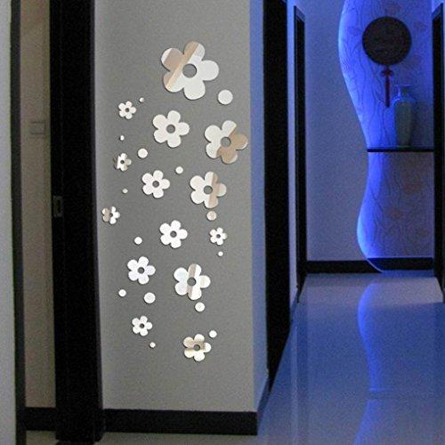 Longra Wohnaccessoires & Deko 3D Blume Spiegel Wand Sticker Haus Dekoration Zimmer Aufkleber Mural Art DIY-heiß Wandaufkleber Wandtattoo (silver)