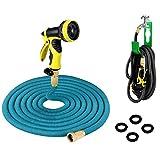 PLUSINNO® Flexibel Schlauch,Flexibler Dehnbar Gartenschlauch Wasserschlauch Set(7.62m, Blau)