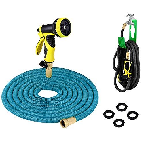 PLUSINNO® Flexibel Schlauch,Flexibler Dehnbar Gartenschlauch Wasserschlauch Set(22.86m, Blau)