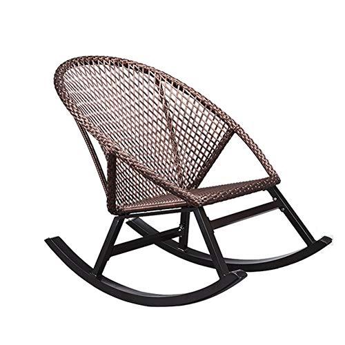LIXIONG Schaukelstuhl All Wetter Sessel Lounge-Sessel PE Wicker Sonne Liegen Hand Gemacht Veranden Terrasse Schaukeln Sitz, Braun (Size : 102x62x92cm) -