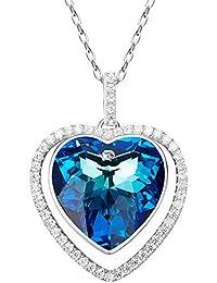 08354e27ac14 Aroncent Collar de 925 Plata Esterlina con Swarovski Cristal Colgante de  Dual Corazón Joyería de Cuerpo