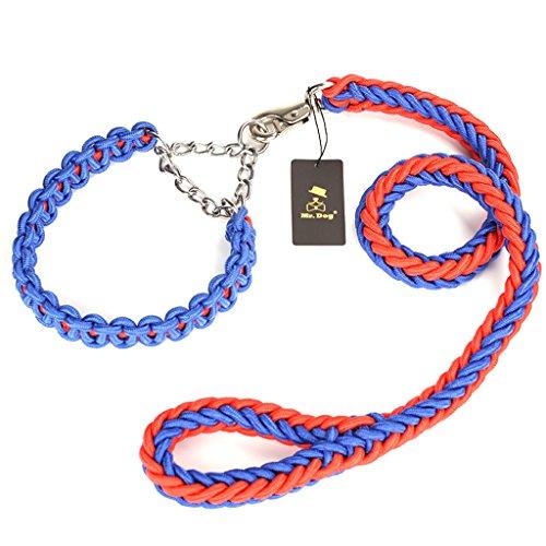 CKH Große Hunde Hunde Golden Retriever Labrador Hund Seil Kragen Hund Kette P Kette Traktion Seil Supplies ( Color : Blue red )