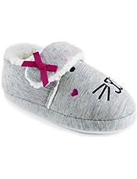 Zapatillas de estar por casa de polar con diseño de conejo y cierre adhesivo para niñas