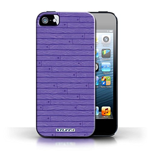 KOBALT® Hülle Case für Apple iPhone 5/5S | Grau Entwurf | Holz-Muster Kollektion Lila