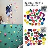 Ranget  32 Pezzi Bambini Arrampicata cornici di plastica Arrampicata Pietre Prese d'arrampicata Multicolore con Vite di espansione Impostato per Muro di Cemento Muro di Legno Solido