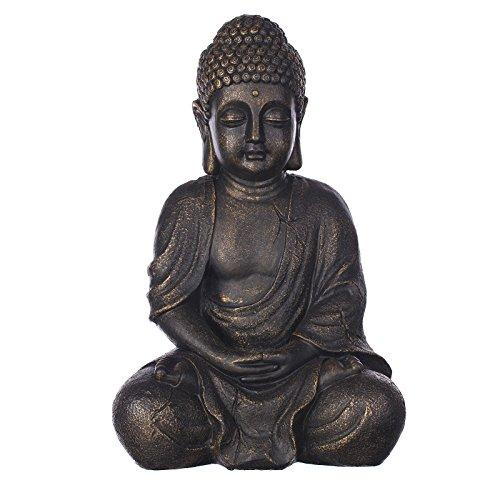 Buddha B4018S Bronze , für Innen und Außen, Buddha Figur 37 cm hoch , Buddha Statue groß, Büste, Gartendekoration, Wetterfest (nicht frostsicher) aus Kunststein (Polyresin) sehr aufwendig per Hand bemalt, sehr feine Strukturen (Hohe Innen-statuen)