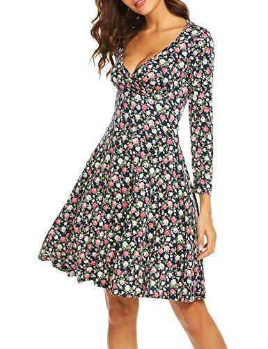 Beyove Damen Elegant Blumen Jerseykleid Wickelkleid Vintage Kleid V-Ausschnitt Langarm Skaterkleid Partykleider Knielang Blau S (Blau Langarm-skater-kleid)