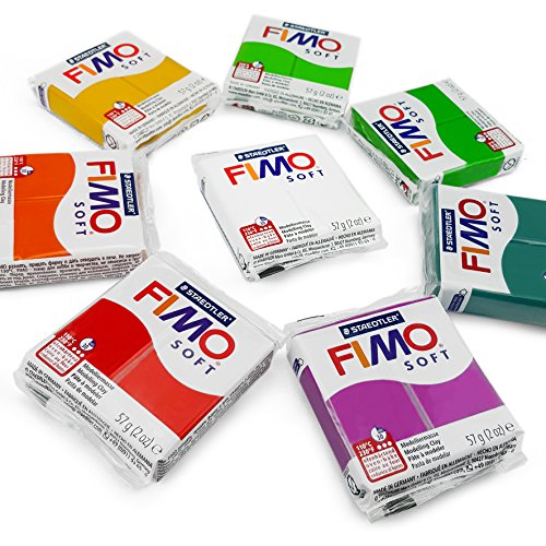 FIMO Soft Polymer Oven Modelling Clay - 57g - Set of 8 - Floral Colours - Clay Farbe Polymer