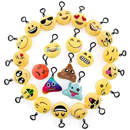 Comius Schlüsselanhänger Kinder, 24 Pcs Mini Emoji Schlüsselanhänger Plüsch Smileys Tasche Anhänger, Party Favors Mitgebsel Gastgeschenk Geschenk für Kinder Party ()