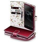 Coque Cuir Xperia XA1, Terrapin Étui Housse en Cuir Avec La Fonction Stand pour Sony Xperia XA1 Cover - Rouge (Fleur à l'intérieur)