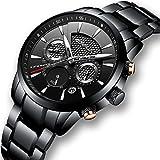 Luxuriöse Herren-Armbanduhr mit Edelstahlband, Quarz-Uhrwerk, Analoganzeige, wasserdicht, mit Datumsanzeige, schwarzes Zifferblatt
