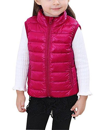 Enfants Fille Garçon Gilet Sans Manche Doudoune Veste Manteau En Hiver Rose 140