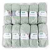 Gründl Shetland, Vorteilspackung 10 Knäuel à 100 g Handstrickgarn, 80% Polyacryl, 20% Wolle, moos Melange, 55 x 40 x 10 cm