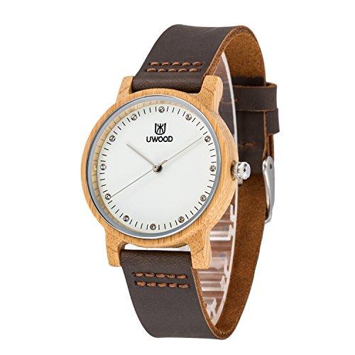 Armbanduhr Damen Bambus, MUJUZE Uhr Analog Quarz Damenuhr Mädchen Wasserdicht Weiß Zifferblatt Glitzer Strass,Geschenke für Mädchen