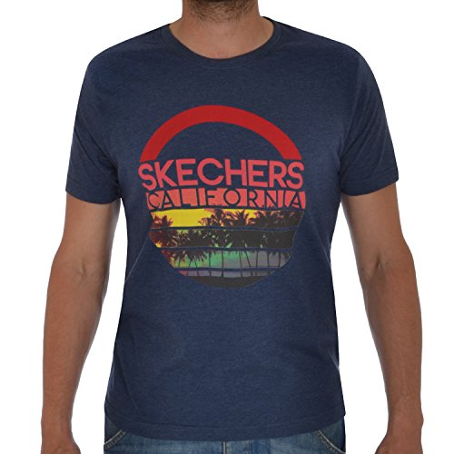 Skechers Designer Herren T Shirt Short sleeve Summer Sports Crewneck Tee Top S – XXL Gr. M, DENIM MARL (Marl T-shirt Crewneck)