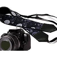 Sugar Skull Kamera Tragegurt. modernen DSLR/SLR Kamera Gurt. Schwarz und Grau Skulls Kamera. Langlebig, Leicht Gewicht und gut gepolstertem Kamera Strap. Code 00165