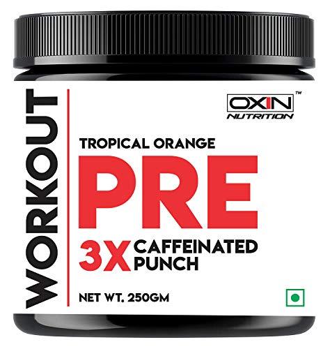 Oxin Nutrition Pre Workout 3X Caffeinated Punch - Preworkout Drink - Creatine Free - Zero Sugar - Pre Workout Natural - Preworkout Supplements Powder 250g (Tropical Orange)