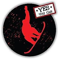 Yes You Can Winter Sports Label Kunst Dekor Aufkleber 12 x 12 cm