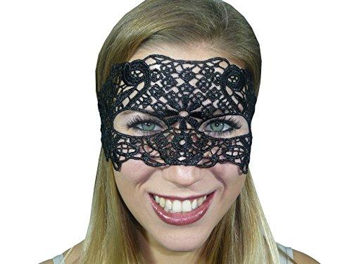HO-Ersoka Damen Augenmaske Spitze Stickerei Maskenball Venezia schwarz