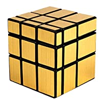 XWDQ Third-Order Cube Gold and Silver Brushed Special-Shaped Fine-Tuning Spring Mirror Cube Environmental Protection Intelligent Cube,Gold
