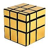 XWDQ Rubiks Cube Tercer Pedido Espejo de Resorte de Ajuste Fino Cepillado en Forma de Oro y Plata Cubo de Rubik Protección del Medio Ambiente Cubo Inteligente,Gold