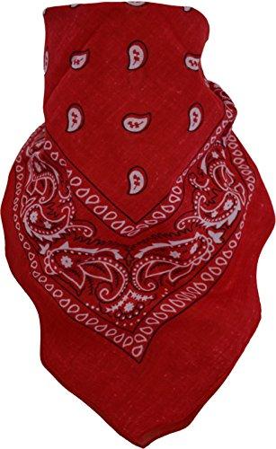 Bandana Biker Kopftuch in verschiendenen Farben - 2 - 10 Stück wählbar Farbe Rot/Weiß Größe 2 Stück