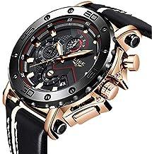 0afd4f3ba919 LIGE Relojes para Hombre Reloj Deportivo de Cuarzo analógico a Prueba de  Agua para Hombre Oro
