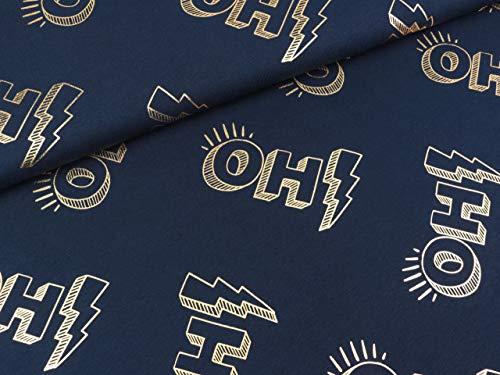 Liebe Folienprint Baumwolljersey Glow Oh! Blue Navy-Gold ()