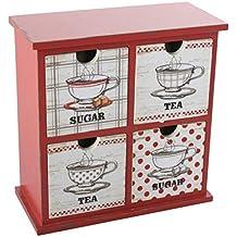 Pide X esa Boca Bon Appetit - Mini cajonera de madera de 4 cajones, con acabado envejecido, color rojo