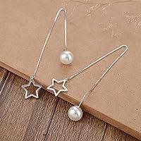 PerlenStudio Damen 925 Sterling Silber Weiß Simulierte Perle Tropfen Ohrringe Little Star Ohrringe Weihnachtsbeste Freund Hochzeitsgeschenk