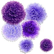 Paxcoo 27 pcs flores de papel de pañales de Pom Pom para la decoración de la 88a33a20748