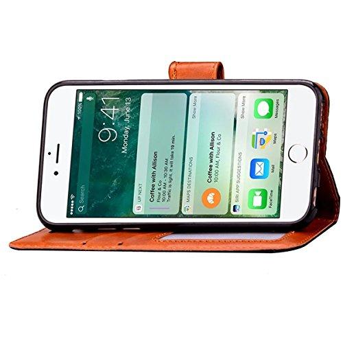 iPhone 7 Coque, Apple iPhone 7 Coque, Lifeturt [ Se leva ] Motif Pure Couleur Housse en Cuir Case à Avec La Fonction Stand Coque de Intérieure Protection Souple Coque Portefeuille TPU Silicone Case Co E2-Gris