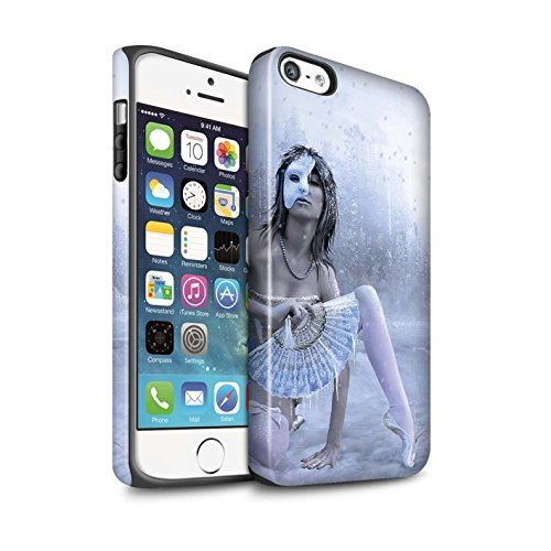 Officiel Elena Dudina Coque / Matte Robuste Antichoc Etui pour Apple iPhone SE / Balançoire Étang Design / Un avec la Nature Collection Masque d'Hiver