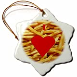 3dRose orn_60643_1 I Love French Fries Snowflake Porcelain Ornament, 3-Inch
