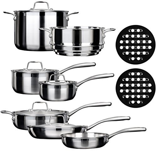 Duxtop SSC-14PC 14 Piece Whole-Clad Tri-Ply Induction Cookware Set, Stainless Steel by Duxtop