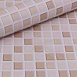 Hode Papier Adhesif Mosaïque Carrelage 40X300cm Autocollant Mural Imperméable Auto-adhésif en Mosaïque pour la Salle de Bain...