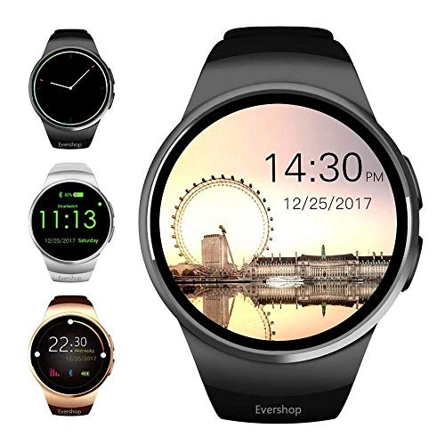 Evershop 1,5 Zoll IPS Runde SmartWatch Wasserdicht Bluetooth Smartwatches mit SIM/TF Card Solt Sleep Monitoring Anti-Lost Heart Rate Monitor and Pedometer for IOS and Android System