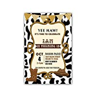 30 Invitations Personalised Kids Birthday Party Cowboy Rodeo Cards