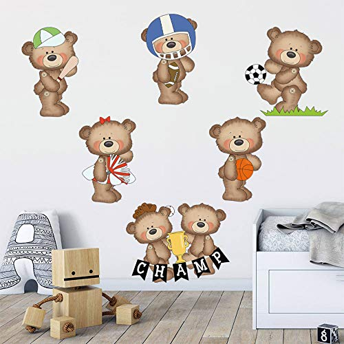 decalmile Sticker Mural Ours Sport Autocollant Mural...